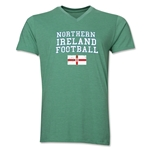 Northern Ireland Football V-Neck T-Shirt (Heather Green)