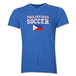 Philippines Soccer V-Neck T-Shirt (Heather Royal)