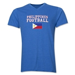 Philippines Football V-Neck T-Shirt (Heather Royal)