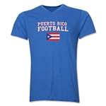 Puerto Rico Football V-Neck T-Shirt (Heather Royal)