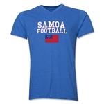 Samoa Football V-Neck T-Shirt (Heather Royal)