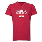 Tahiti Football V-Neck T-Shirt (Heather Red)