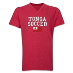 Tonga Soccer V-Neck T-Shirt (Heather Red)