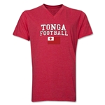 Tonga Football V-Neck T-Shirt (Heather Red)