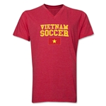 Vietnam Soccer V-Neck T-Shirt (Heather Red)