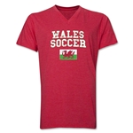 Wales Soccer V-Neck T-Shirt (Heather Red)