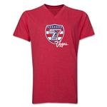 USA Sevens Vegas Rugby V-Neck T-Shirt (Heathert Red)