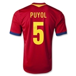 Spain 2013 PUYOL Home Soccer Jersey
