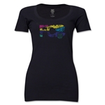 Barcelona Distressed Women's Scoopneck T-Shirt (Black)