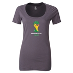 2014 FIFA World Cup Brazil(TM) Women's Official Emblem Scoopneck T-Shirt (Dark Grey)