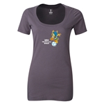 2014 FIFA World Cup Brazil(TM) Women's Official Mascot Scoopneck T-Shirt (Dark Grey)
