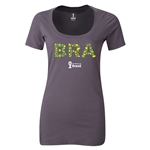 Brazil 2014 FIFA World Cup Brazil(TM) Women's Elements Scoopneck T-Shirt (Dark Grey) Scoopneck T-Shirt (Dark Grey)
