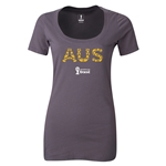 Australia 2014 FIFA World Cup Brazil(TM) Women's Elements Scoopneck T-Shirt (Dark Grey) Scoopneck T-Shirt (Dark Grey)