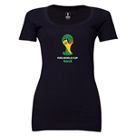 2014 FIFA World Cup Brazil(TM) Women's Official Emblem Scoopneck T-Shirt (Black)