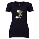 2014 FIFA World Cup Brazil(TM) Women's Official Mascot Scoopneck T-Shirt (Black)