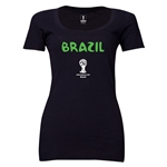 Brazil 2014 FIFA World Cup Brazil(TM) Women's Core Scoopneck T-Shirt (Black)