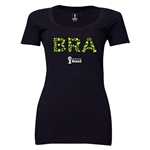 Brazil 2014 FIFA World Cup Brazil(TM) Women's Elements Scoopneck T-Shirt (Black) Scoopneck T-Shirt (Dark Grey)