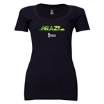Brazil 2014 FIFA World Cup Brazil(TM) Women's Palm Scoopneck T-Shirt (Black) Scoopneck T-Shirt (Dark Grey)