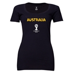 Australia 2014 FIFA World Cup Brazil(TM) Women's Core Scoopneck T-Shirt (Black)