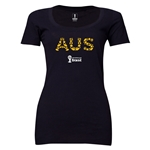 Australia 2014 FIFA World Cup Brazil(TM) Women's Elements Scoopneck T-Shirt (Black) Scoopneck T-Shirt (Dark Grey)