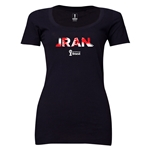 Iran 2014 FIFA World Cup Brazil(TM) Women's Palm Scoopneck T-Shirt (Black) Scoopneck T-Shirt (Dark Grey)