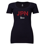 Japan 2014 FIFA World Cup Brazil(TM) Women's Elements Scoopneck T-Shirt (Black) Scoopneck T-Shirt (Dark Grey)