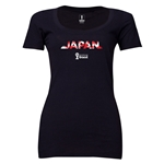 Japan 2014 FIFA World Cup Brazil(TM) Women's Palm Scoopneck T-Shirt (Black)