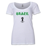 Brazil 2014 FIFA World Cup Brazil(TM) Women's Core Scoopneck T-Shirt (White) Scoopneck T-Shirt (Dark Grey)