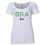 Brazil 2014 FIFA World Cup Brazil(TM) Women's Elements Scoopneck T-Shirt (White) Scoopneck T-Shirt (Dark Grey)