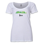 Brazil 2014 FIFA World Cup Brazil(TM) Women's Palm Scoopneck T-Shirt (White)