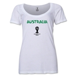 Australia 2014 FIFA World Cup Brazil(TM) Women's Core Scoopneck T-Shirt (White) Scoopneck T-Shirt (Dark Grey)