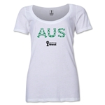 Australia 2014 FIFA World Cup Brazil(TM) Women's Elements Scoopneck T-Shirt (White) Scoopneck T-Shirt (Dark Grey)