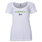 Australia 2014 FIFA World Cup Brazil(TM) Women's Palm Scoopneck T-Shirt (White) Scoopneck T-Shirt (Dark Grey)