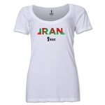 Iran 2014 FIFA World Cup Brazil(TM) Women's Palm Scoopneck T-Shirt (White) Scoopneck T-Shirt (Dark Grey)