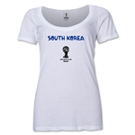 South Korea 2014 FIFA World Cup Brazil(TM) Women's Core Scoopneck T-Shirt (White) Scoopneck T-Shirt (Dark Grey)