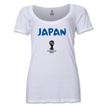 Japan 2014 FIFA World Cup Brazil(TM) Women's Core Scoopneck T-Shirt (White) Scoopneck T-Shirt (Dark Grey)