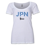 Japan 2014 FIFA World Cup Brazil(TM) Women's Elements Scoopneck T-Shirt (White) Scoopneck T-Shirt (Dark Grey)