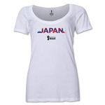 Japan 2014 FIFA World Cup Brazil(TM) Women's Palm Scoopneck T-Shirt (White) Scoopneck T-Shirt (Dark Grey)