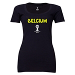 Belgium 2014 FIFA World Cup Brazil(TM) Women's Core Scoopneck T-Shirt (Black) Scoopneck T-Shirt (Dark Grey)