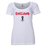 England 2014 FIFA World Cup Brazil(TM) Women's Core Scoopneck T-Shirt (White) Scoopneck T-Shirt (Dark Grey)