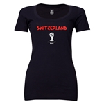 Switzerland 2014 FIFA World Cup Brazil(TM) Women's Core Scoopneck T-Shirt (Black)