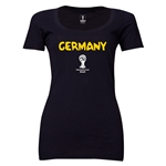 Germany 2014 FIFA World Cup Brazil(TM) Women's Core Scoopneck T-Shirt (Black) Scoopneck T-Shirt (Dark Grey)
