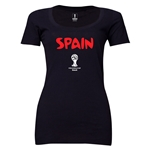 Spain 2014 FIFA World Cup Brazil(TM) Women's Core Scoopneck T-Shirt (Black)