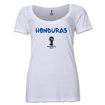 Honduras 2014 FIFA World Cup Brazil(TM) Women's Core Scoopneck T-Shirt (White) Scoopneck T-Shirt (Dark Grey)