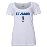 Ecuador 2014 FIFA World Cup Brazil(TM) Women's Core Scoopneck T-Shirt (White) Scoopneck T-Shirt (Dark Grey)