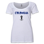 Colombia 2014 FIFA World Cup Brazil(TM) Women's Core Scoopneck T-Shirt (White) Scoopneck T-Shirt (Dark Grey)