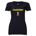 Cameroon 2014 FIFA World Cup Brazil(TM) Women's Core Scoopneck T-Shirt (Black)
