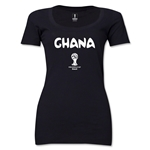 Ghana 2014 FIFA World Cup Brazil(TM) Women's Core Scoopneck T-Shirt (Black)