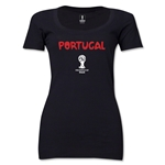 Portugal 2014 FIFA World Cup Brazil(TM) Women's Core Scoopneck T-Shirt (Black)