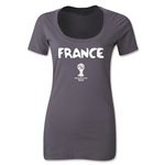 France 2014 FIFA World Cup Brazil(TM) Women's Core Scoopneck T-Shirt (Dark Grey)